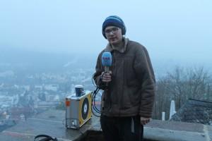 Während einer Live-Sendung aus Marburg.