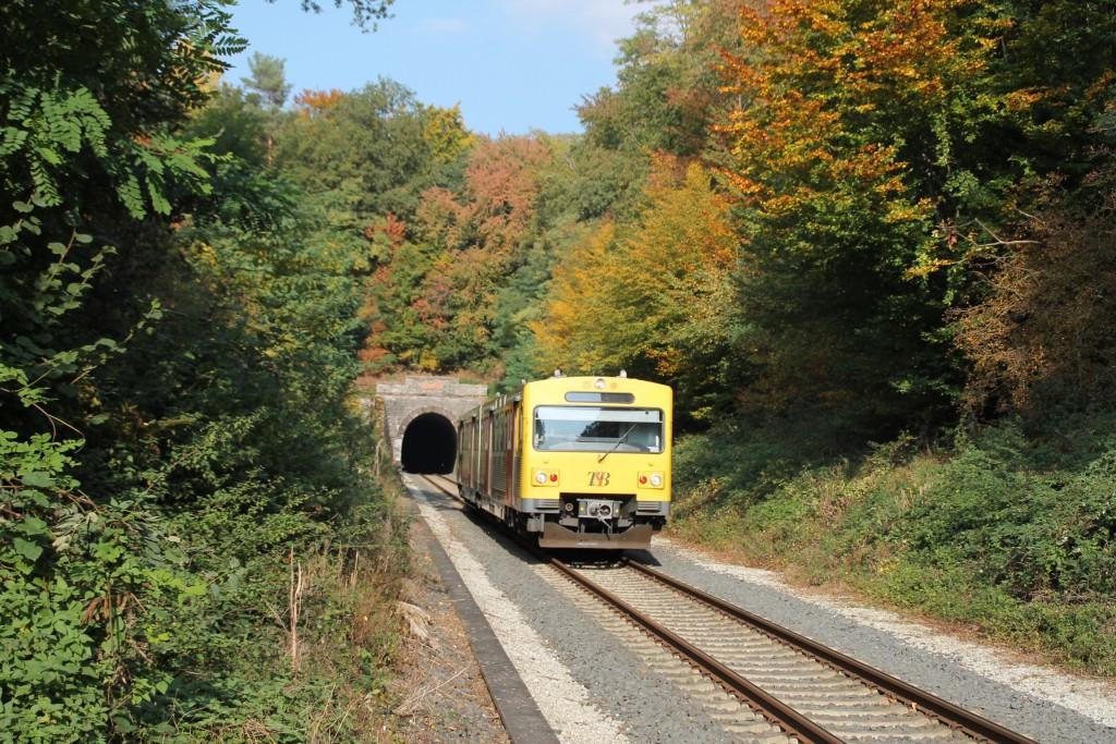 Ein VT2E der HLB verlässt den Hasselborner Tunnel.